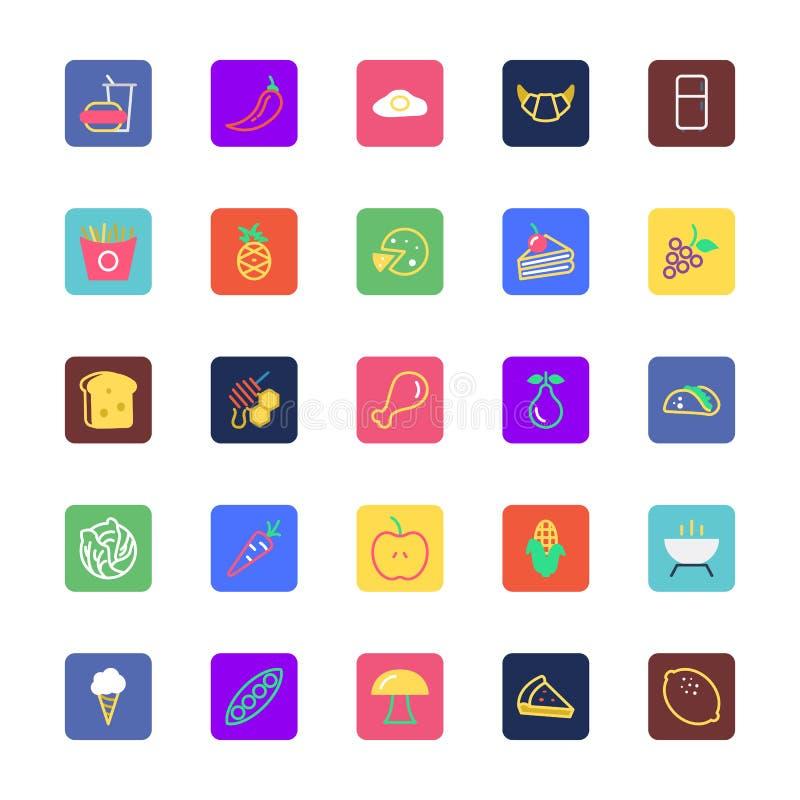 La comida, bebidas, frutas y verduras coloreó los iconos 2 del vector stock de ilustración