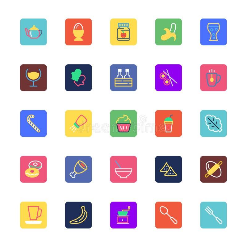 La comida, bebidas, frutas y verduras coloreó los iconos 5 del vector libre illustration