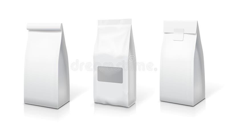 La comida blanca del papel de la hoja se levanta el sistema de los bolsos del bocado Ejemplo de empaquetado de la bolsita en blan libre illustration