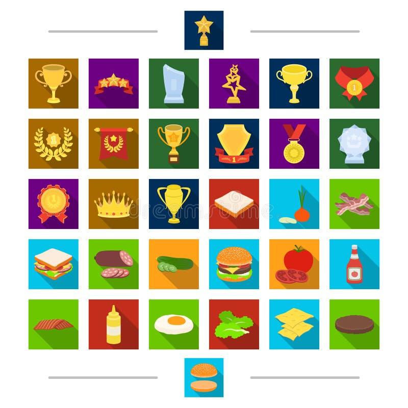 La comida campestre, el deporte, la dieta y el otro icono del web en estilo de la historieta Barbacoa, resto, invitaciones, icono stock de ilustración