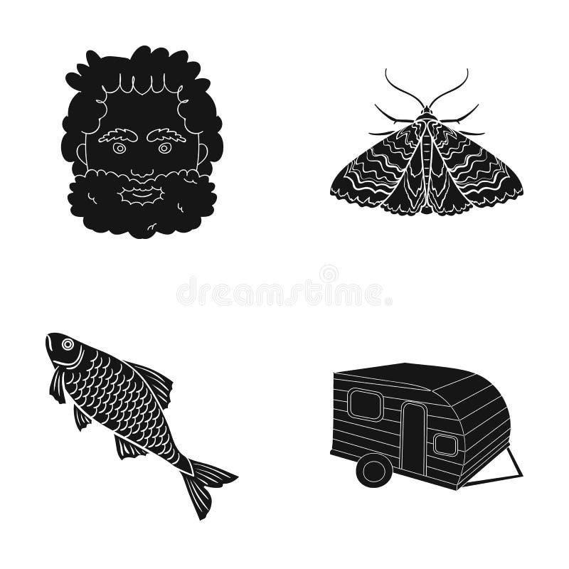 La comida campestre, el resto, el turismo y el otro icono del web en estilo negro pesca, remolque, viaje, iconos en la colección  stock de ilustración