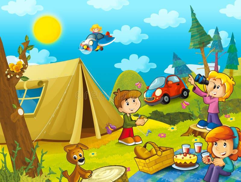 La comida campestre en los niños de maderas se está divirtiendo que conduce en coche y que vuela en un avión libre illustration
