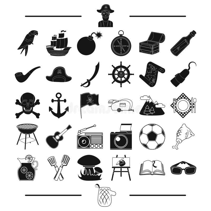 La comida campestre, la historia, la aventura y el otro icono del web en estilo negro mitones, resto, dispositivos, iconos en la  ilustración del vector