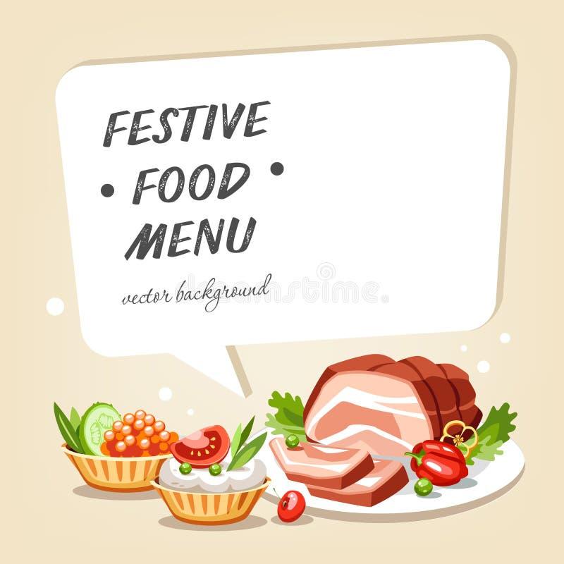 La comida cocinada sirve el fondo de la celebración del día de fiesta ilustración del vector