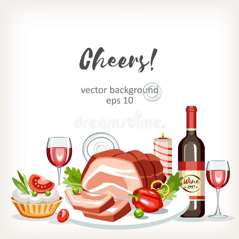 La comida cocinada sirve el fondo festivo de la celebración del día de fiesta ilustración del vector