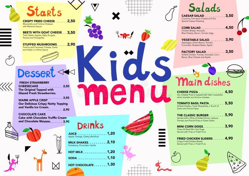 La comida colorida linda embroma la plantilla del menú con los monstruos lindos, frutas, elementos geométricos ilustración del vector