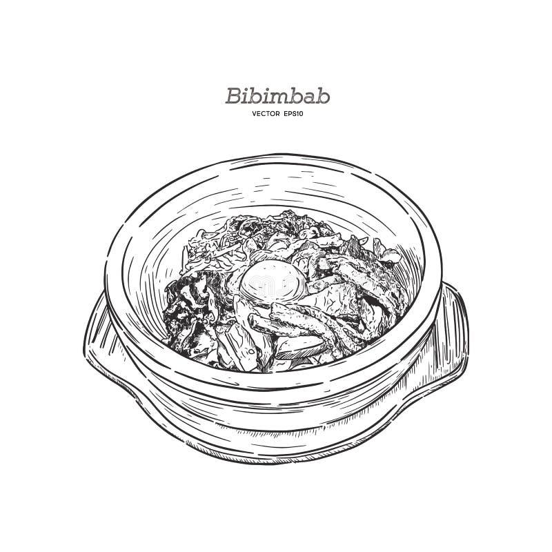 La comida coreana, mezcló el arroz Bibimbab, vector del bosquejo del drenaje de la mano ilustración del vector