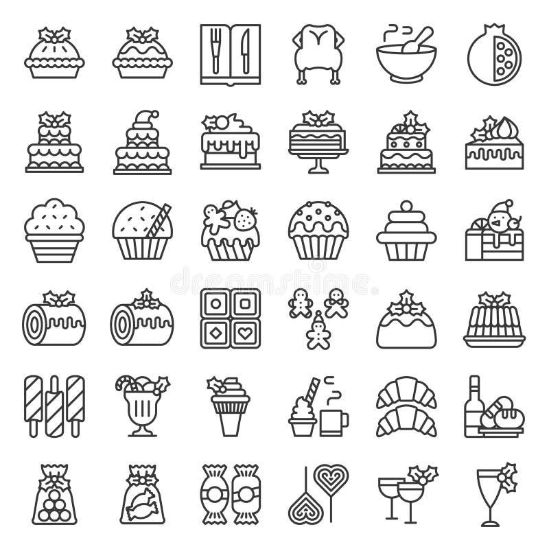 La comida de la Navidad relacionó el icono fijado por ejemplo la panadería, vino, galleta, laye ilustración del vector
