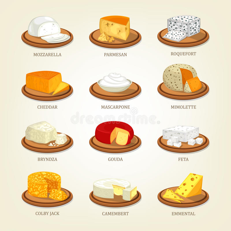 La comida del queso le gusta el parmesano y de la mozzarella, el Roquefort stock de ilustración