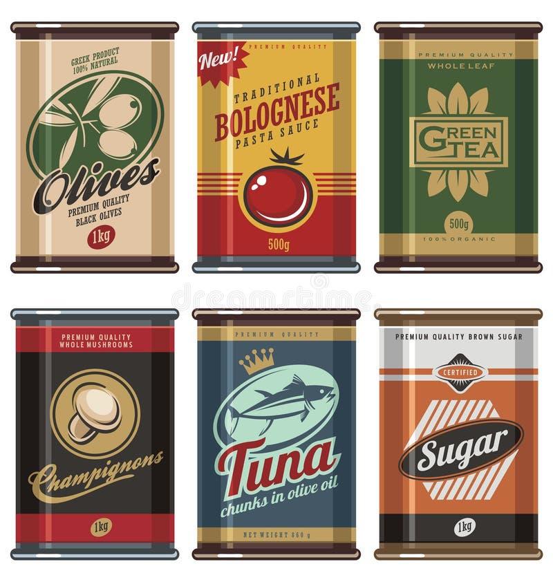 La comida del vintage puede colección ilustración del vector