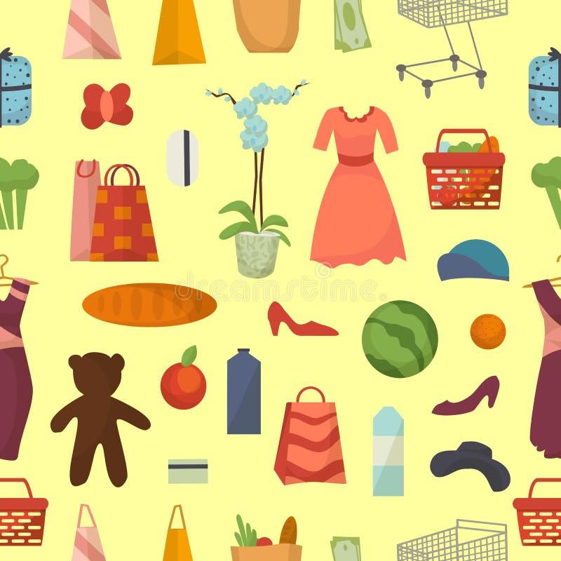 La comida determinada del vector de las compras del web y el fondo inconsútil del modelo de los iconos de la tienda de los produc stock de ilustración