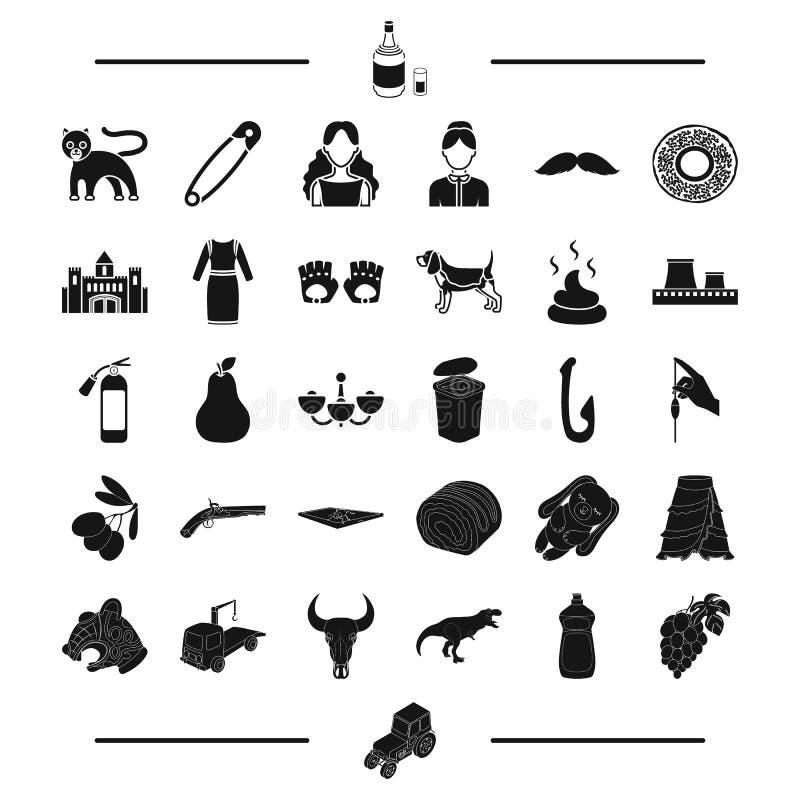 La comida, el transporte, el animal y el otro icono del web en estilo negro aspecto, pelo, iconos de la basura en la colección de ilustración del vector