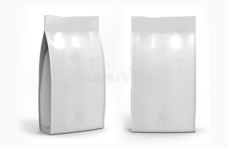 La comida en blanco de la hoja o del papel se levanta el empaquetado del bolso de la bolsita del bocado de la bolsa ilustración del vector