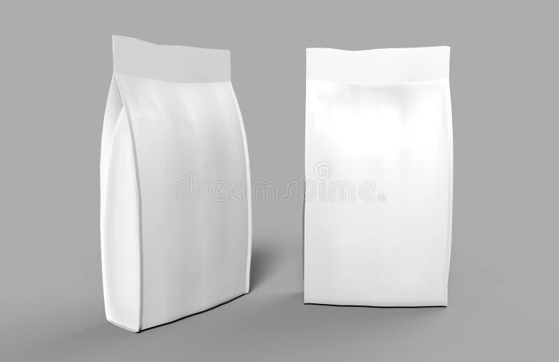 La comida en blanco de la hoja o del papel se levanta el empaquetado del bolso de la bolsita del bocado de la bolsa 3D rinden el  ilustración del vector