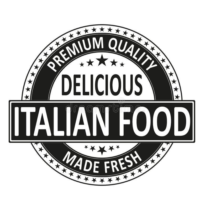 La comida italiana deliciosa de la calidad superior hizo el sello fresco de la insignia ilustración del vector
