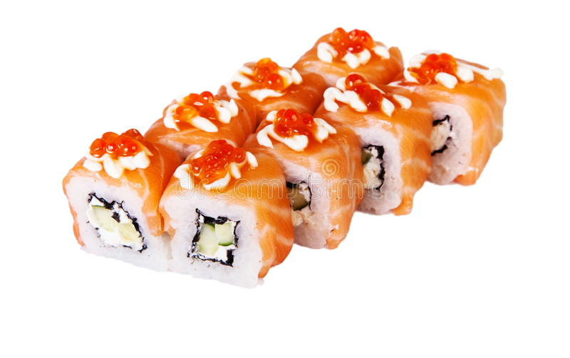 La comida japonesa es rollos de sushi frescos y deliciosos imágenes de archivo libres de regalías