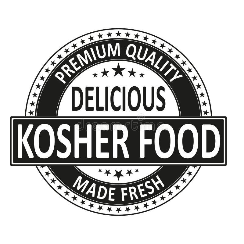 La comida kosher deliciosa de la calidad superior hizo el sello fresco de la insignia stock de ilustración