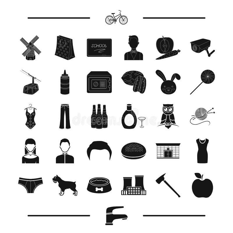 La comida, la Pascua y el otro icono del web en estilo negro aspecto, iconos animales en la colección del sistema ilustración del vector