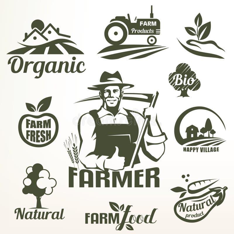 La comida orgánica, bio o de la granja simboliza la colección ilustración del vector