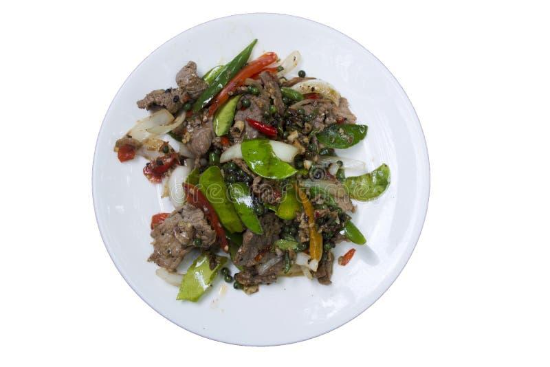 La comida oriental tailandesa asiática sofrió la carne de vaca de la carne de la pimienta negra foto de archivo libre de regalías