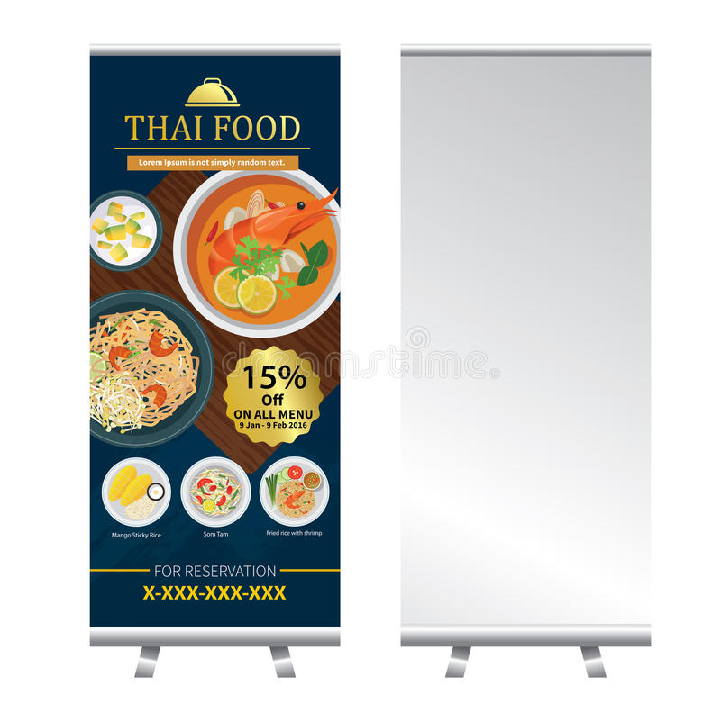 La comida tailandesa rueda para arriba diseño del soporte de la bandera stock de ilustración