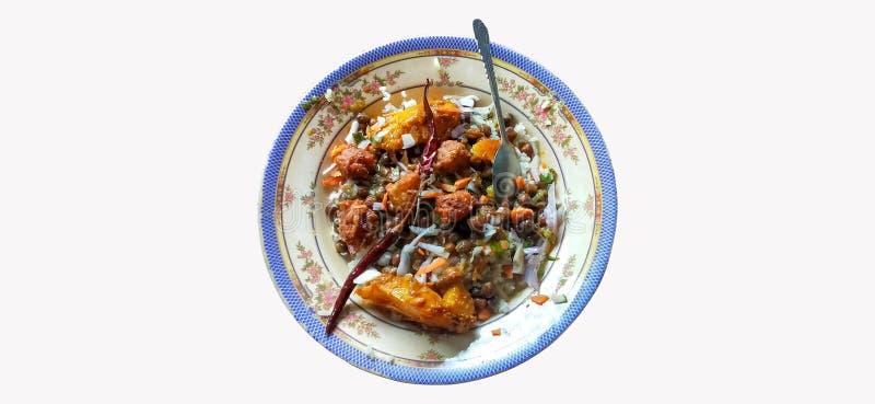 La comida tradicional en Bangladesh es de origen blanco imágenes de archivo libres de regalías
