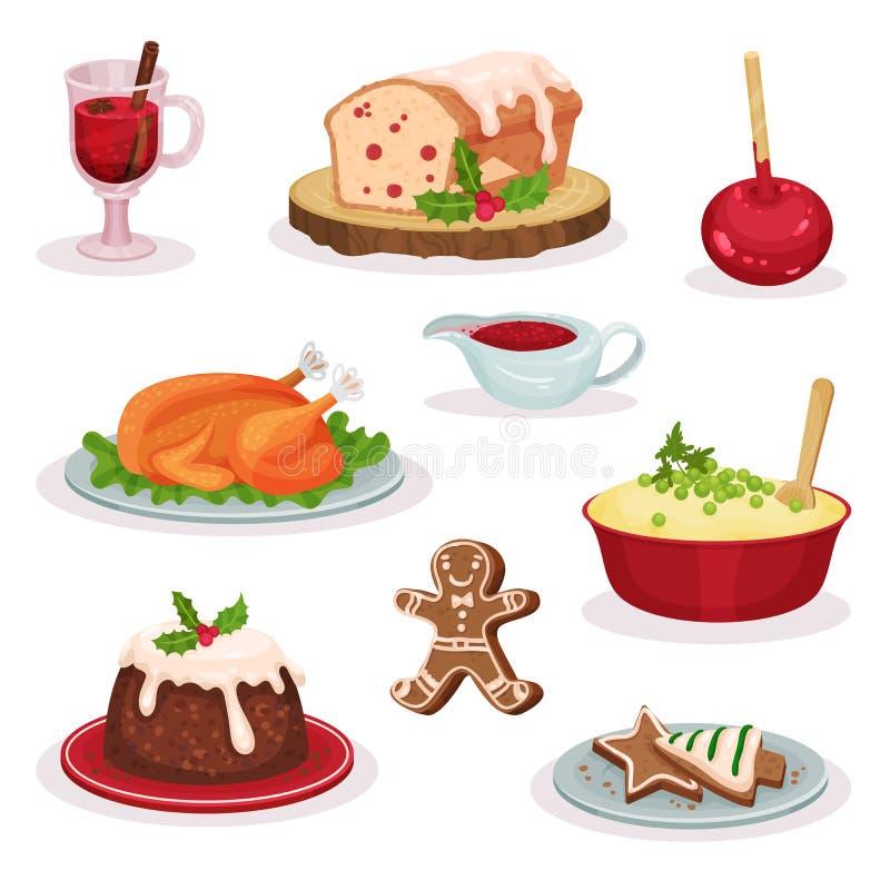 La comida y los postres tradicionales de la Navidad fijaron, vino reflexionado sobre, queque de frutas, manzana de caramelo, pavo ilustración del vector