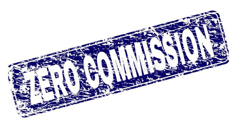 La COMISIÓN CERO del Grunge enmarcó el sello redondeado del rectángulo stock de ilustración