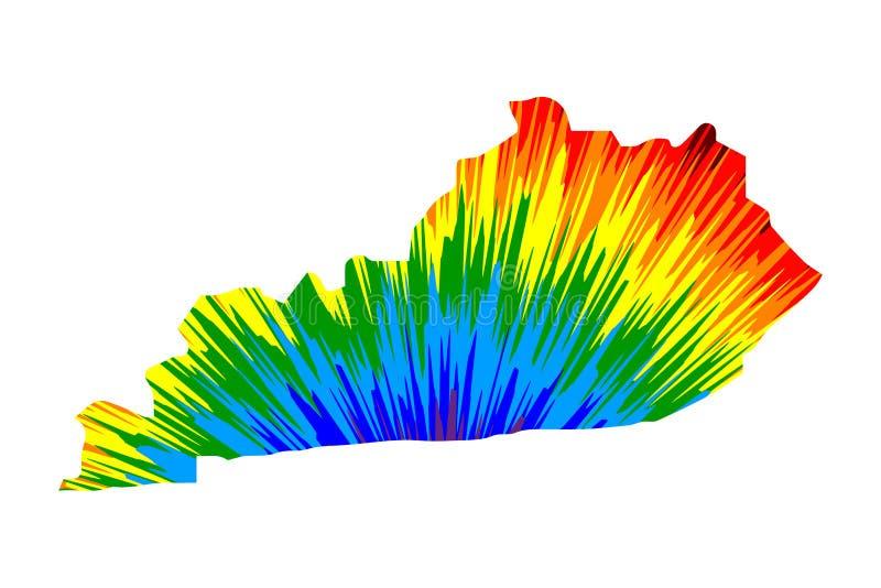 La Commonwealth de Kentucky - el mapa es modelo colorido diseñado del extracto del arco iris libre illustration