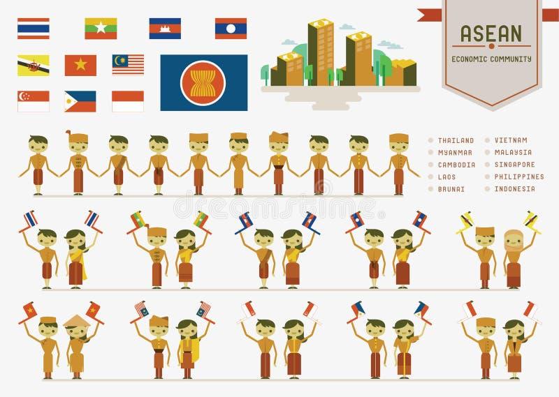 La communauté économique d'ASEAN illustration de vecteur