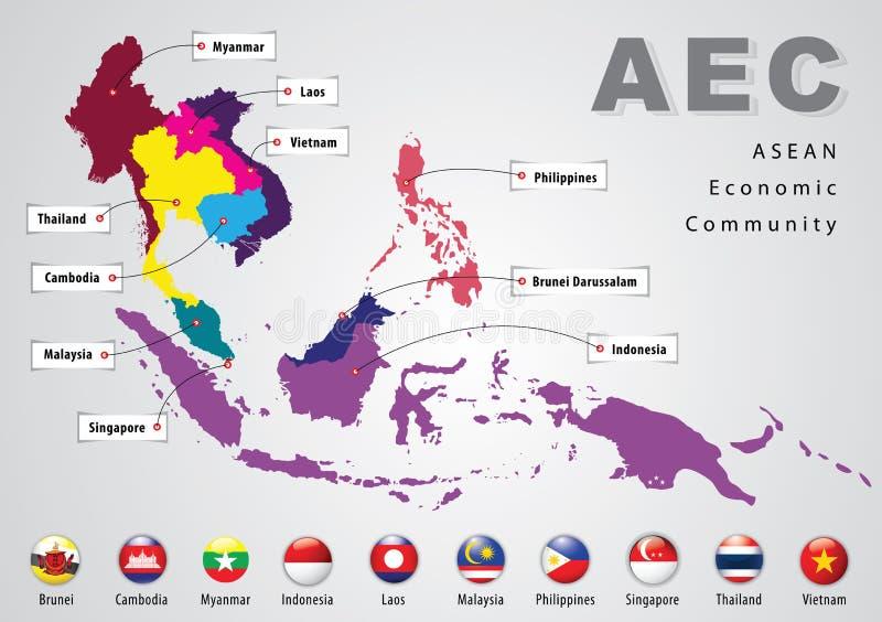 La communauté économique d'ASEAN, l'AEC illustration de vecteur