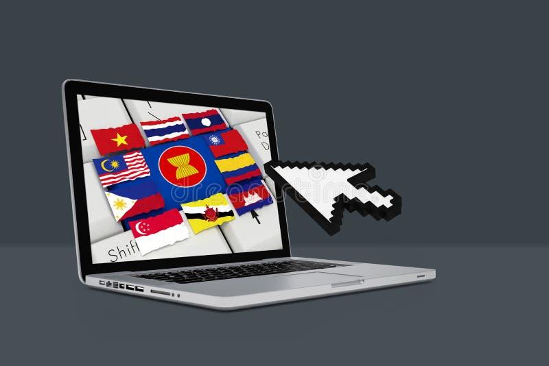 La communauté économique d'ASEAN, l'AEC avec l'ordinateur portable illustration de vecteur