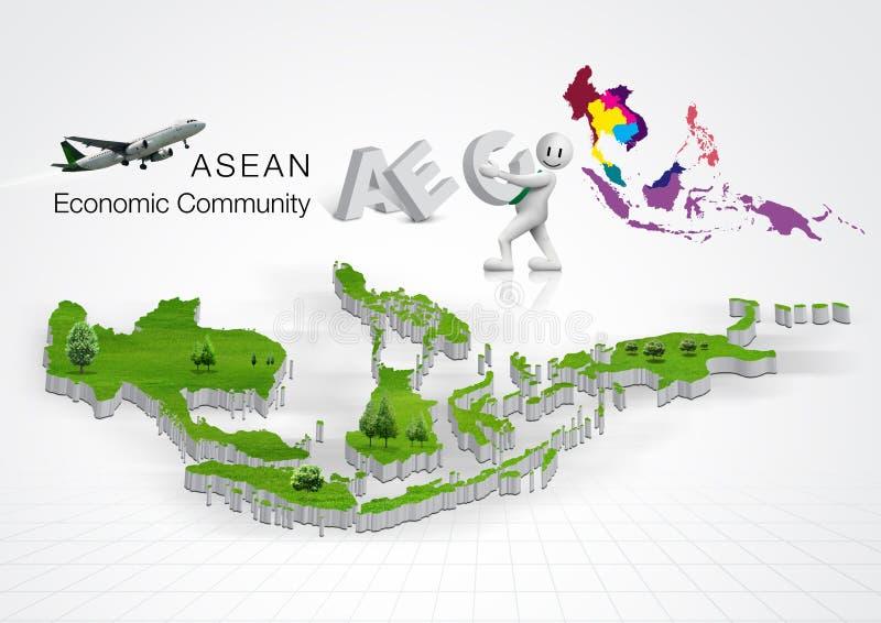 La communauté économique d'ASEAN, l'AEC illustration libre de droits