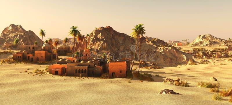 La communauté arabe sur la terre en friche, rendu 3d illustration de vecteur