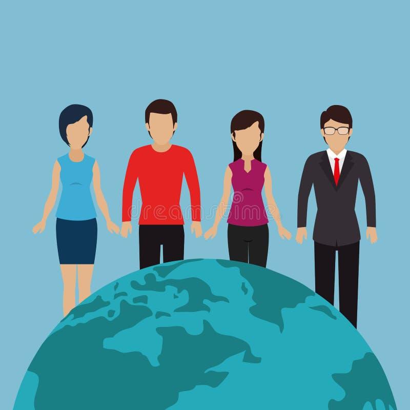 La Communauté avec la planète du monde illustration libre de droits