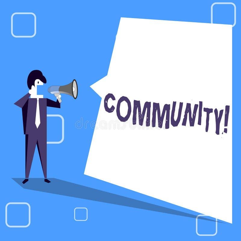 La Communauté d'écriture des textes d'écriture Concept signifiant le groupe d'unité d'Alliance d'affiliation d'état d'association illustration de vecteur