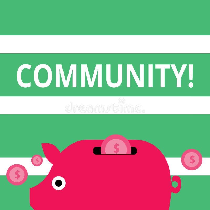 La Communauté des textes d'écriture Concept signifiant le groupe d'unité d'Alliance d'affiliation d'état d'association de quartie illustration libre de droits