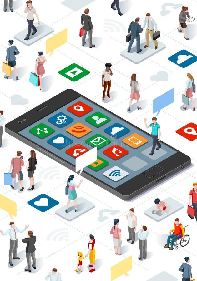 La Communauté et vecteur isométrique Infographic de personnes de Smartphone illustration stock