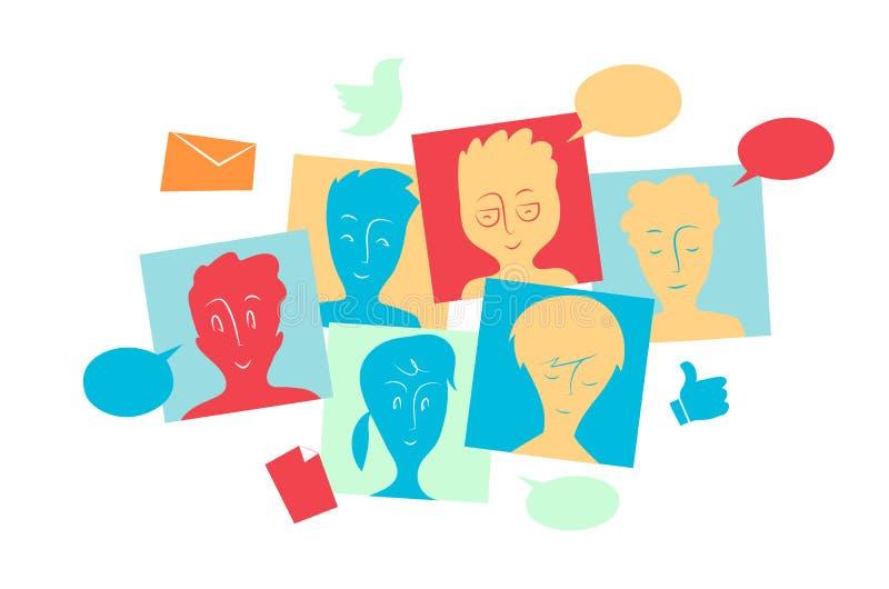 La communauté sociale interactive et le contenu de part, les messages et le dossier illustration libre de droits