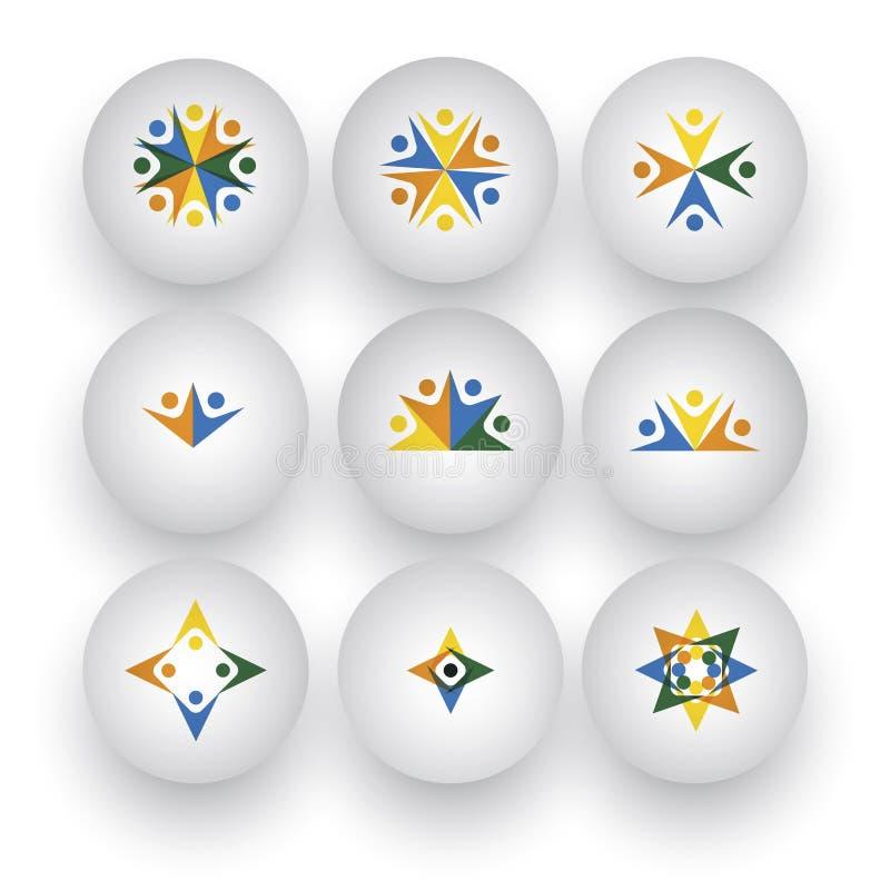 La Communauté, unité, personnes heureuses, enfants jouant des icônes de vecteur illustration de vecteur