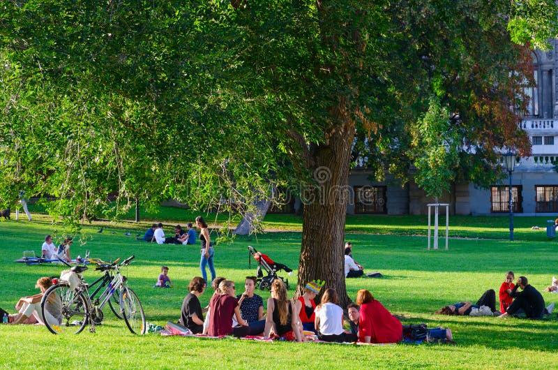 La compañía de la gente joven está descansando en el parque público popular en el día soleado de septiembre, Viena, Austria  imagen de archivo libre de regalías