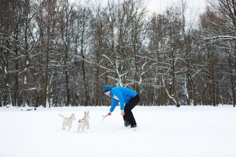 La compañía divertida en la nieve foto de archivo libre de regalías