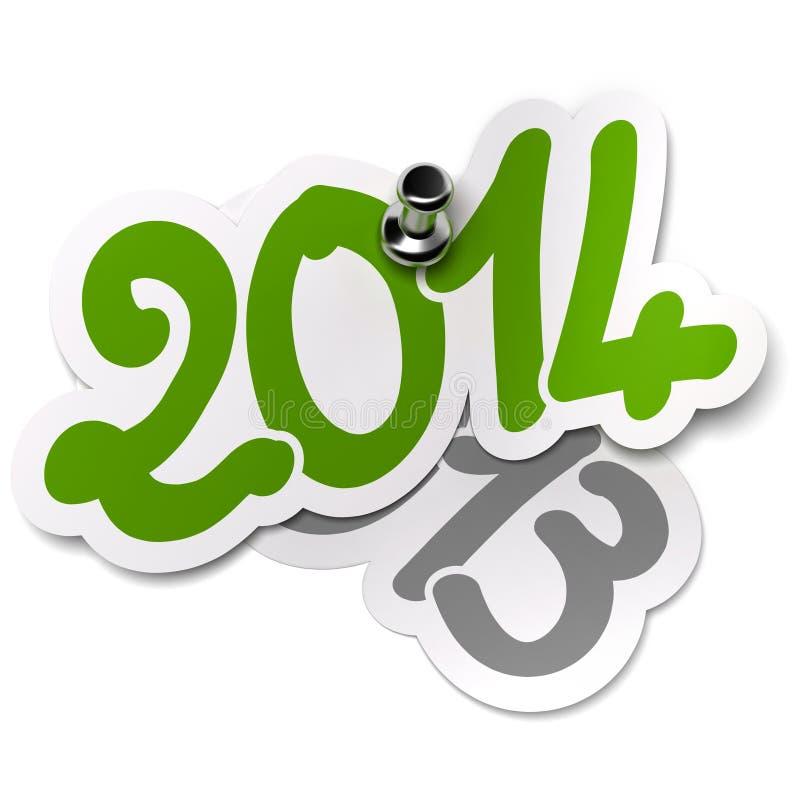2014 contre 2013 ans. Autocollants illustration de vecteur