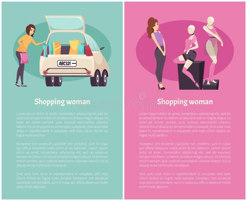 La compera delle donne, copre il boutique del vettore del centro commerciale royalty illustrazione gratis
