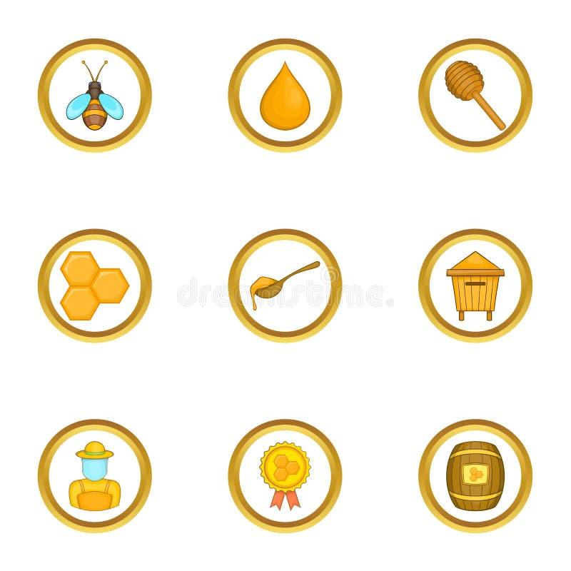 La competencia de los iconos de los apicultores fijó, estilo de la historieta ilustración del vector