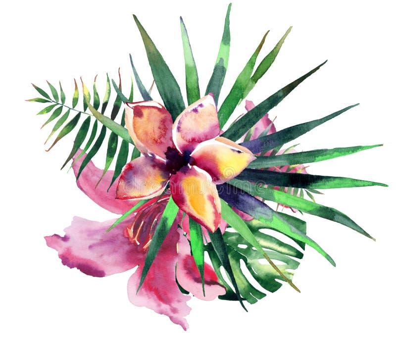 La composición colorida del verano herbario floral tropical maravilloso precioso brillante hermoso de Hawaii de la violeta rosada libre illustration
