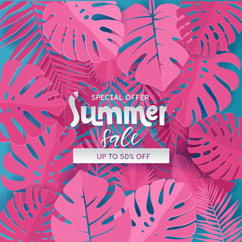 La composición cuadrada con el papel cortó las hojas rosadas de la selva en fondo azul Poner letras al texto está ocultando en pl libre illustration