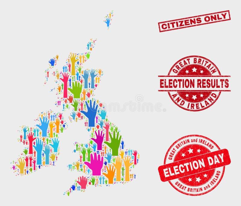 La composición de la encuesta Gran Bretaña y el mapa de Irlanda y los ciudadanos rasguñados sellan solamente libre illustration