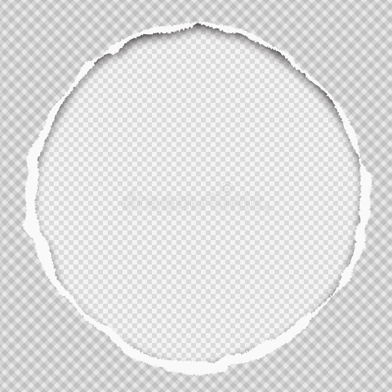 La composición de papel redonda con los bordes rasgados y la sombra suave está en el fondo ajustado blanco Ilustración del vector libre illustration