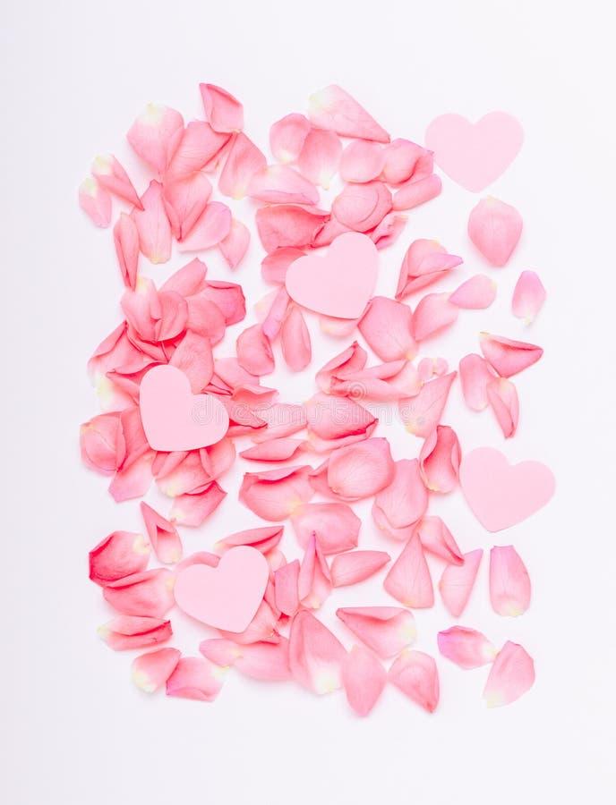 La composición de rosas y de corazones rosados Fondo floral para el día de las mujeres del día de fiesta, tarjeta del día de San  imagen de archivo